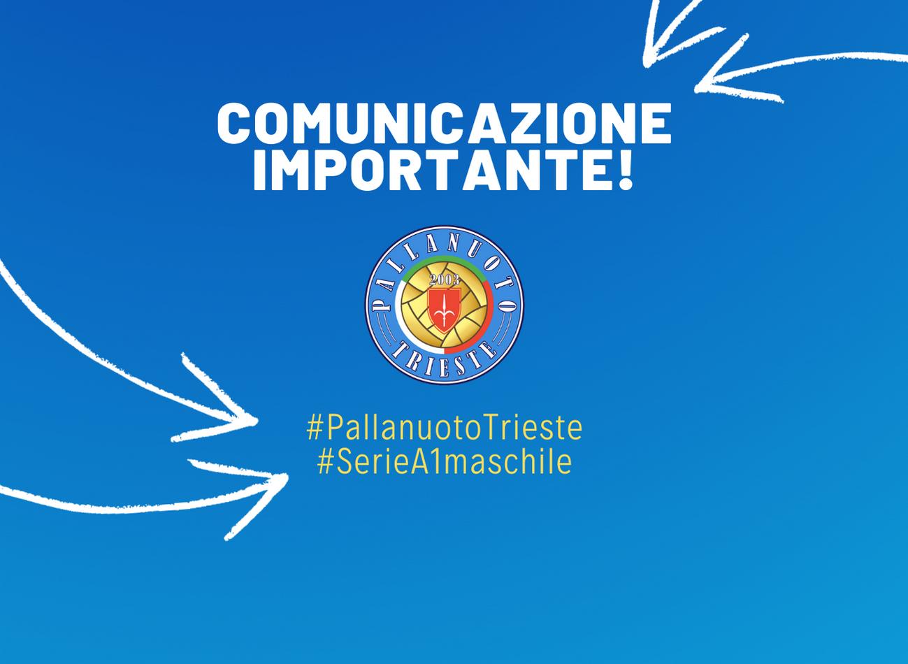 La partita di mercoledì 4 marzo tra Pallanuoto Trieste e Quinto (ore 19.00) sarà a PORTE CHIUSE